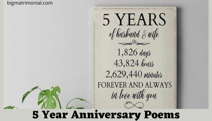5 Year Anniversary Poems