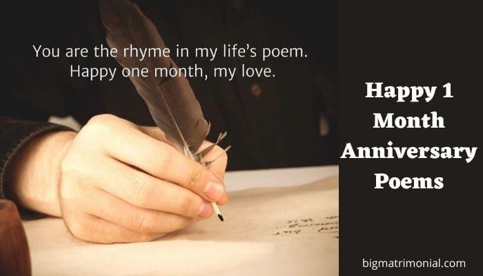 Happy 1 Month Anniversary Poems