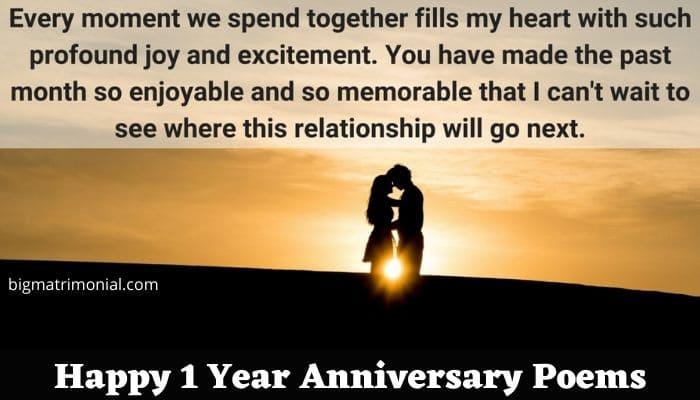 Happy 1 Year Anniversary Poems